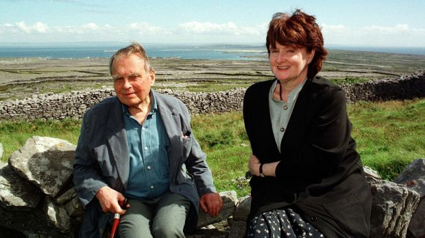 Nobel Prize winning poet Czeslaw Milosz and Eavan Boland at Dún Eochla on Inis Mór for the Aran Islands Poetry Festival in 1997. Photograph: Joe O'Shaughnessy
