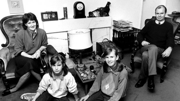 Eavan Boland with her husband Kevin Casey ansd their two daughters, Sarah and Eavan at home in Dundrum, Co Dublin in 1988.