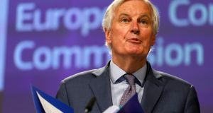 The European Commission's chief Brexit negotiator  Michel Barnier speaks during a media conference at EU headquarters in Brussels on Friday. Photograph: Olivier Matthys/ AP