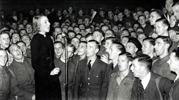 Vera Lynn entertain the troops in 1940. Photograph: Popperfoto/Getty Images