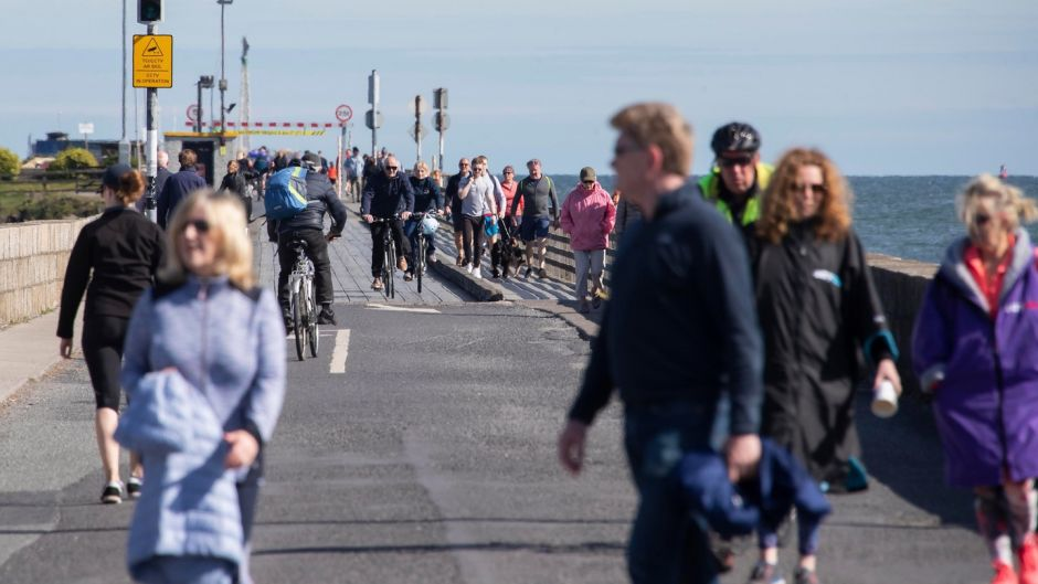 Walkers in Clontarf on Monday afternoon 27th April 2020. Picture Colin Keegan, Collins Dublin