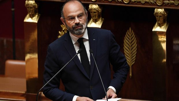 French prime minister Edouard Philippe presents the government's plan to exit from the lockdown situation at the French National Assembly in Paris. Photograph: David Niviere via Getty