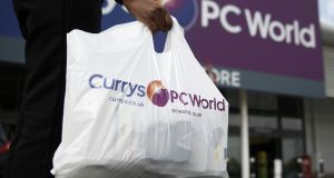 Dixons, which trades as Carphone Warehouse and Currys PC World, said online sales were making up for about two-thirds of store sales lost due to closure. Photograph: Simon Dawson/Bloomberg