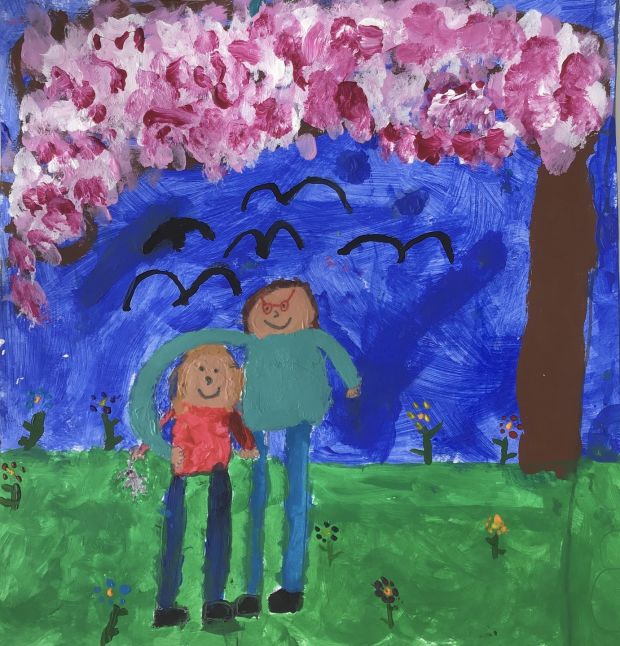 RUNNER UP: Holly Aird, aged 6. 'This is a picture of me and my nanny. I'm looking forward to seeing my nanny, giving her a hug and having a sleepover with her and my grandad when this is all over.'