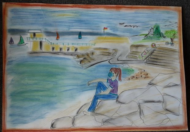 RUNNER UP: Aoife Clinch, aged 11. 'My picture is of a girl with a mask dreaming of summer at Salthill Beach. I used pastels pencils and crayons.'