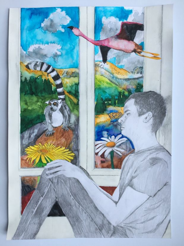 WINNER: James Moonan, aged 15. 'This is called Wild Imagination. It is a picture if me inside my house looking out and thinking of all the things I'd like to see outside my window. Like pink flying flamingos, snowy mountains, giant colourful flowers and my favourite animal, a lemur.'
