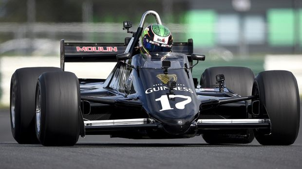Nicole Drought at the wheel of the iconic Guinness March 811 Formula 1 car at Mondello Park. Photograph: Michael Chester