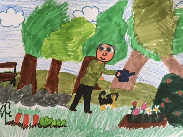 Éadaoin Fenton, aged 8.'I drew this picture of Grandad because it's his birthday next week and because I cant see him I imagine him in his garden watering his plants.'