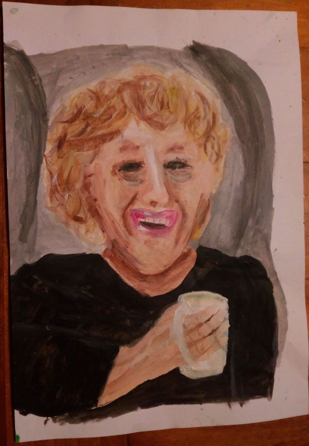 Coralie Hart, aged 11.'This is a painting of my Nanny drinking a cup of tea. I'm missing her especially as I normally see her at Easter. I miss her very very very much.'