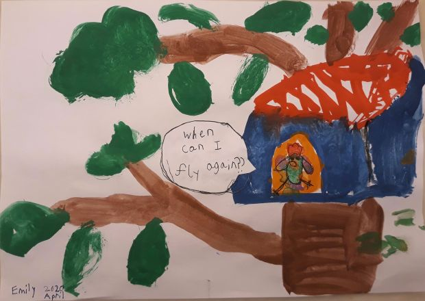 Emily Plunkett, aged 8.'My painting is about a bird in a birdhouse in a tree who is wondering when she can fly again.'