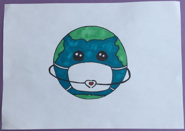 Eva Boo, aged 12.'My picture shows the world wearing a mask. It symbolises the whole world working together to protect against Covid- 19. The Earth is holding its hands in a heart because even though we can't see people we love right now we are keeping our distance to protect them because we love them.'