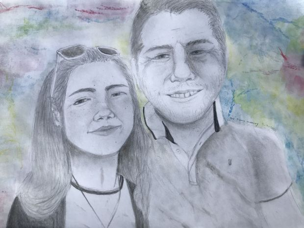 Fiona Mooney, aged 13.'This is a picture of me and my Dad. I painted it because we are separated during the Covid19 lockdown because he is looking after my Grandad. I miss my Dad very much and this is the longest we have not seen each other.'
