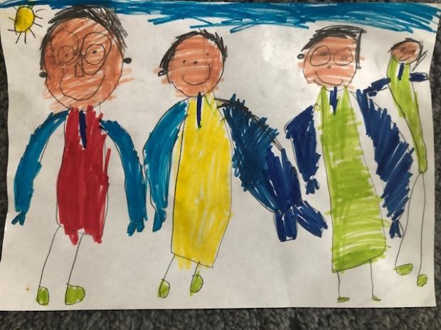 Juliana Fearon, aged four and three quarters.'This picture is about me and my brother Zak and my Mummy and Daddy going to the park in the sunshine after Daddy comes home from working in the hospital.'