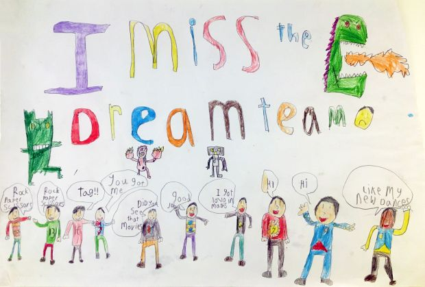 Oisín Meade, aged 8.'These are all my friends. I can us the Dream Team. I miss them all.'