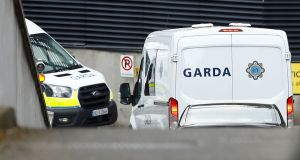 A prison service van arriving at Dublin's Criminal Courts of Justice carrying Ronan Hughes to a hearing earlier this month after he was arrested on foot of a European Arrest Warrant. Photograph: Jason Cairnduff/Reuters