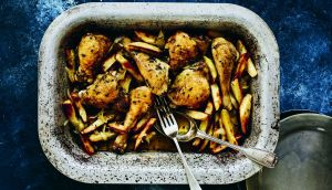 Roman chicken and chips,  from One Pot Feeds All, by Darina Allen.