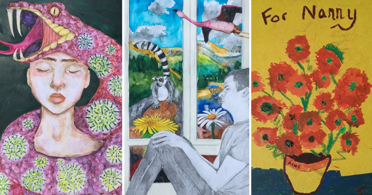 The Irish Times children's isolation art competition: Wild Imagination (centre), the winning entry, by James Moonan; flanked by highly commended entries by Elizabeth McElroy (left) and Áine McPolin (right)