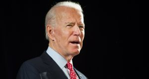 Democrat candidate Joe Biden: supporters point out he is  running on a much more progressive platform than is generally thought. Photograph: Tracie Van Auken