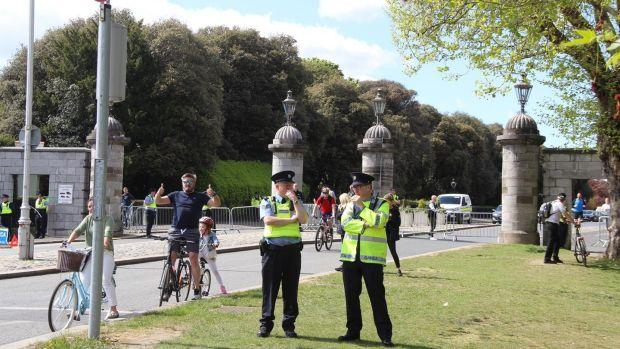 Gardaí at the Park Gate Street entrance to Dublin's             Phoenix Park on Saturday. Photograph: Ronan McGreevy