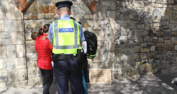 Gardaí speaking to would-be protesters                           near Dublin's Phoenix Park on Saturday.                           Photograph: Ronan McGreevy