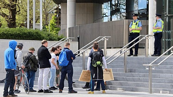Gardaí took positions nearby Courts of Justice building             where approximately 15 to 20 protesters turned up, but they             dispersed after about an hour.