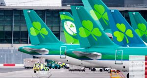 Aer Lingus aircraft parked up at Dublin Airport. Photograph: Tom Honan for The Irish Times.