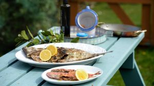 Barbecued whole fish with Matilda dressing