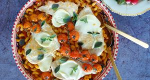 One-tray chicken and pasta bake with a cheesy twist