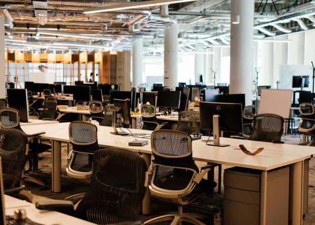 Post-pandemic workplaces: Mobify's empty office. Photograph: Alana Paterson/New York Times