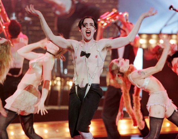 Cumming as the Emcee in the 1998 Broadway production of Cabaret, for which he won a Tony. Photograph: Jeff Christensen/Reuters