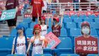 Dummies and cardboard cut-outs replace fans during a game between the Rakuten Monkeys and the CTBC Brothers at Taoyuan International Baseball Stadium in Taiwan on Saturday. Photograph: Ashley Pon/The New York Times