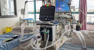 Adjustable ventilator system:  treats two patients with one machine. Photograph: NUI Galway