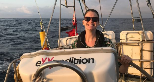 Claire McCluskey on board the S/V Travel Edge in the south Pacific. Photograph: eXXpedition