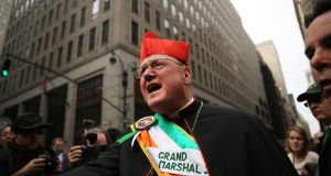 Cardinal Timothy Dolan makes his way up 5th Avenue during New York City's St Patrick's Day Parade on March 17th, 2015. Photograph: Spencer Platt/Getty Images