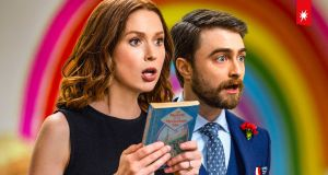 Ellie Kemper and Daniel Radcliff in Unbreakable Kimmy Schmidt: Kimmy vs the Reverend, streaming from Friday on Netflix