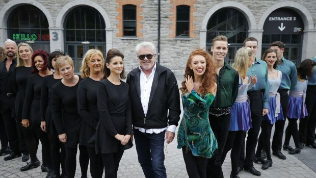 Members of the original 1995 Riverdance troupe with cofounder John McColgan and (to his left) Amy-Mae Dolan and the new Riverdance troupe, outside 3Arena last October 4th. Photograph: Nick Bradshaw