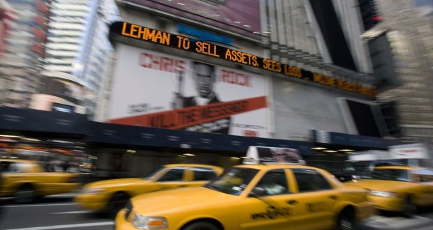 The Dow Jones ticker in Times Square, New York, displaying news about Lehman Brothers on September 10th, 2008. The bank failed because it prioritised short-term gain over the necessity to develop a future-proofed strategy. Photograph: Bloomberg News