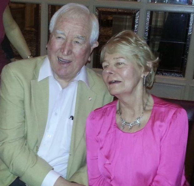 John McGroddy with his wife, Nell. After retiring he opened a successful hardware business in Swords. Nell is now recovering from the virus
