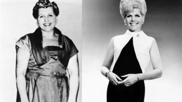 Founder of Weight Watchers Jean Nidetch poses for a before and after portrait circa 1965 in New York. Photograph: Michael Ochs Archives/Getty