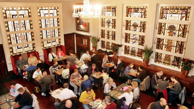 The interior of Bewley's café featuring the famous Harry Clarke stained glass windows in 2005. Photograph: Matt Kavanagh