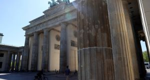 The Brandenburg Gate in Berlin. Most events marking the 75th anniversary of VE Day have been cancelled  due to the Covid-19 pandemic. Photograph: Fabrizio Bensch/Reuters