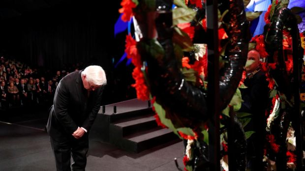 German president Frank-Walter Steinmeier takes part in a wreath-laying ceremony in January at the World Holocaust Forum marking 75 years since the liberation of Auschwitz, at Yad Vashem Holocaust memorial centre in Jerusalem. Photograph: Ronen Zvulun/Reuters