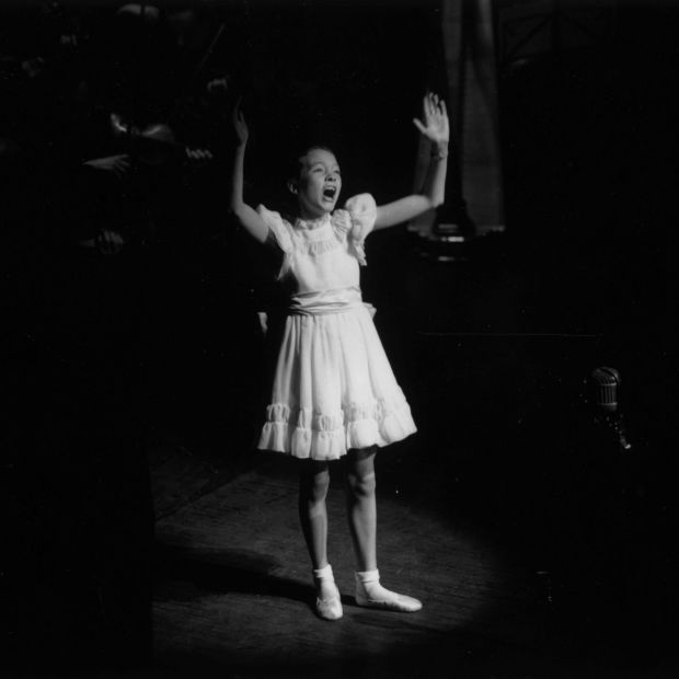 Julie Andrews on stage at the London Palladium in 1948 during a Royal Command Performance. Photograph: Keystone/Getty