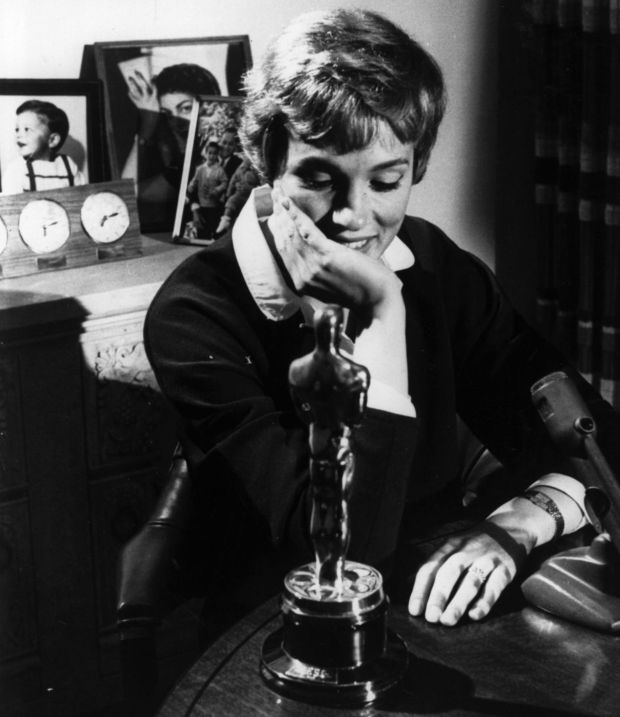 Julie Andrews with her best actress Oscar for Mary Poppins. Photograph:Keystone/Getty