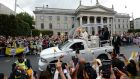 \ Pope Francis, passes through O'Connell Street, Dublin in the popemobile. Photograph: Dara Mac Dónaill / The Irish Times