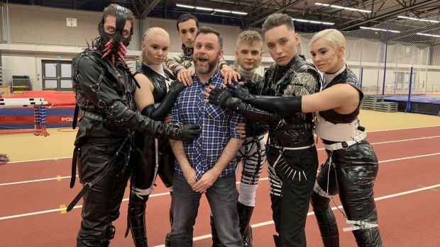 Rob Holley, the UK-based Eurovision fan who's organizing the #EurovisionAgain Saturday re-watches, with Hatari (last year's BDSM-inflected Icelandic entry). Photograph: Ellie Chalkley