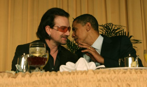 Bono with Barack Obama in 2006, prior to his election as US president. Photograph: Dennis Brack-Pool/Getty