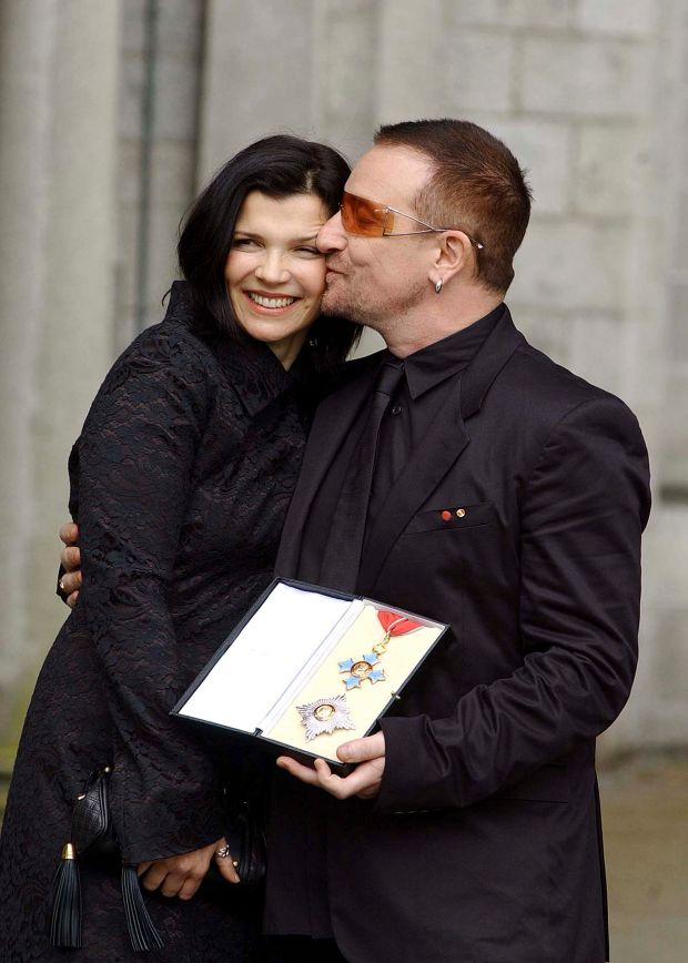 Sir Bono: with his wife, Ali Hewson, after receiving an honorary knighthood from the British ambassador to Ireland in March 2007. Photograph: ShowBizIreland/Getty