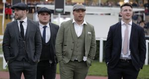 England rugby players Elliot Daly, Jamie George, Ellis Genge and Tom Curry during day one of the Cheltenham Festival in March. Photo: Tom Jenkins/Getty Images