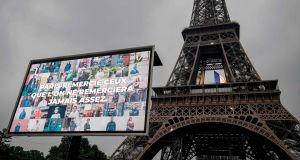 'Paris thanks those that are never thanked enough': The Eiffel Tower in Paris on May 10th, 2020, on the eve of France's easing of lockdown measures. Photograph: Thomas Samson/AFP via Getty Images